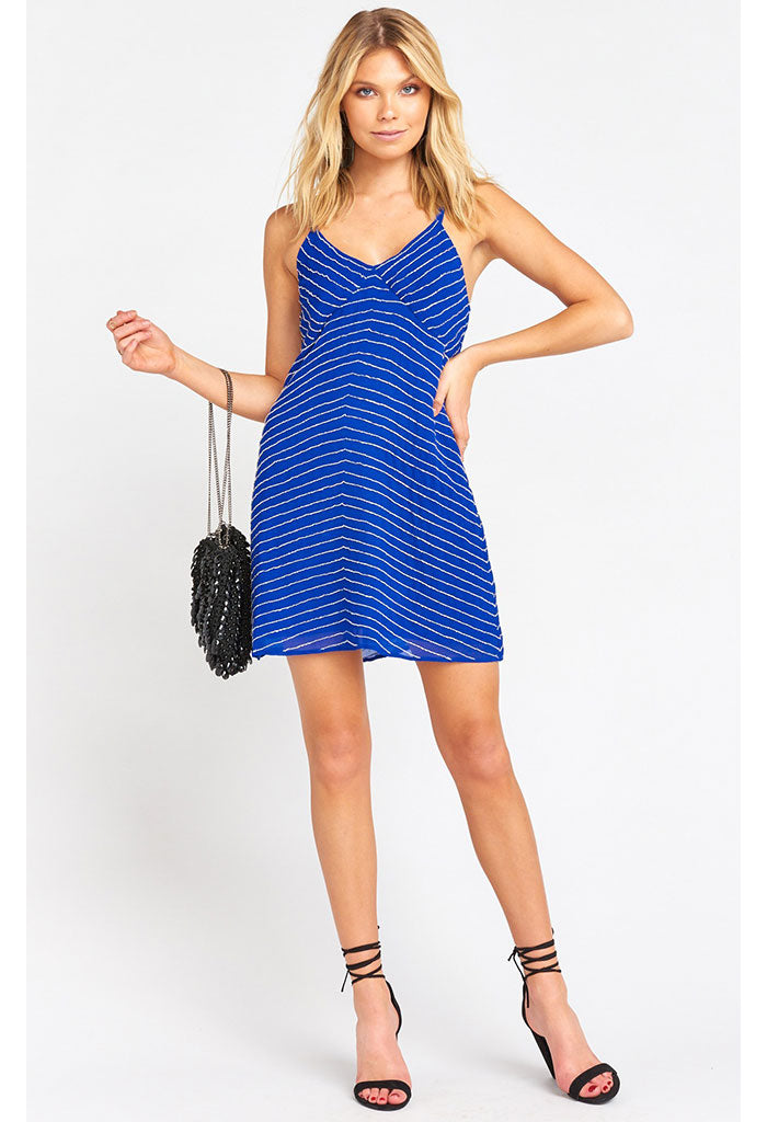 Callahan Slip Dress-Cobalt Beading