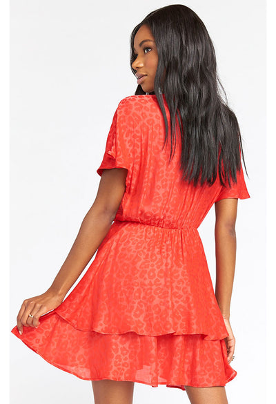 Sandrine Ruffle Dress-Red Silky Cheetah