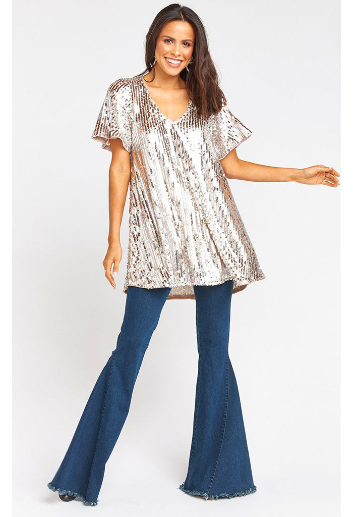 Emi Tunic Dress-Platinum Party Sequins