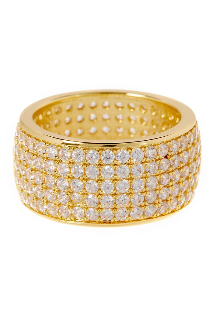 LUV AJ Pave Cigar Ring-Gold
