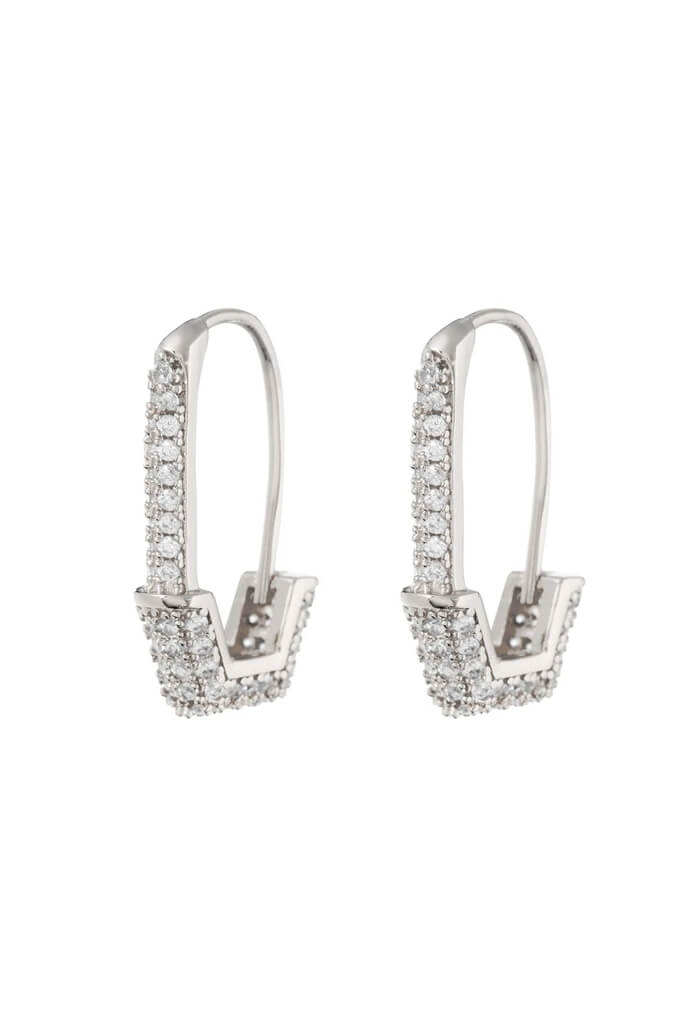 LUV AJ Pave Hex Pin Earrings-Silver