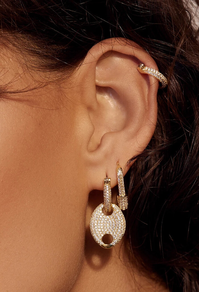 LUV AJ Pave Hex Pin Earrings-Gold