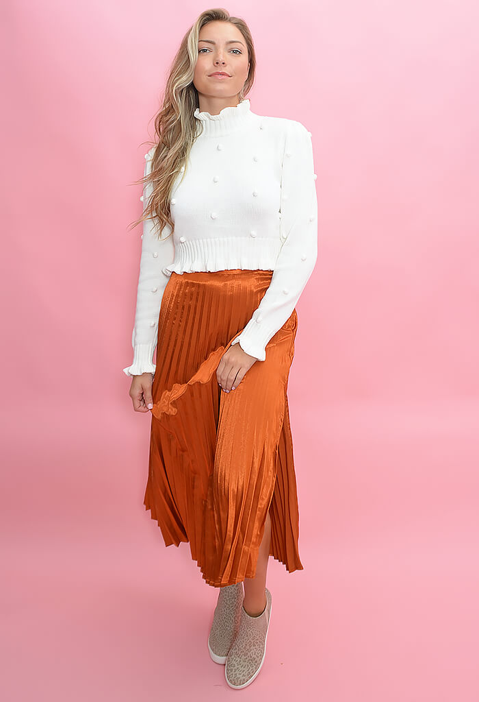 Minkpink After Glow Pleat Skirt-Rust