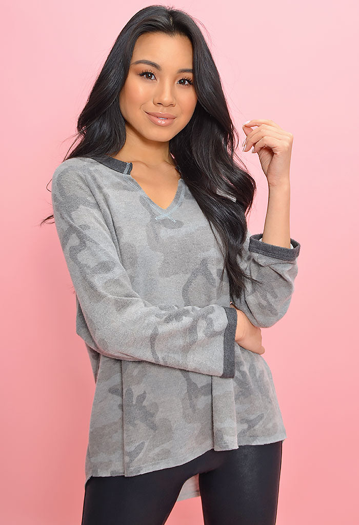 Soft and Cozy Camo Tee-Grey
