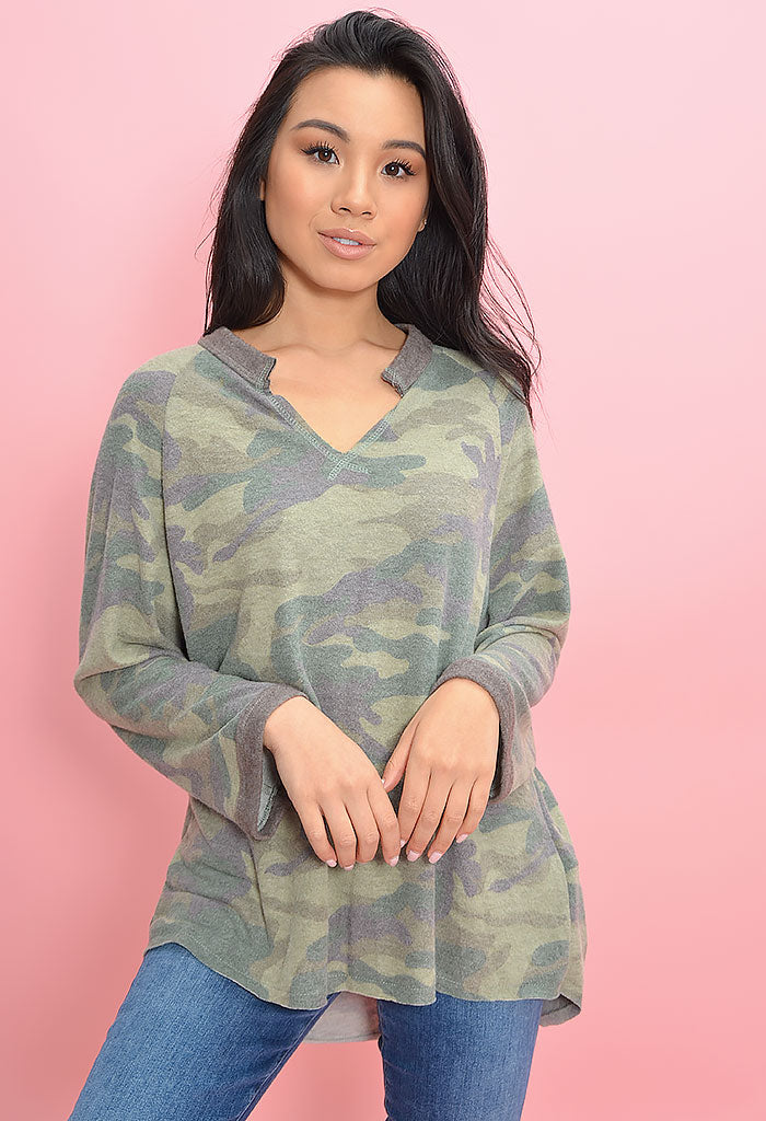 Soft and Cozy Camo Tee-Green