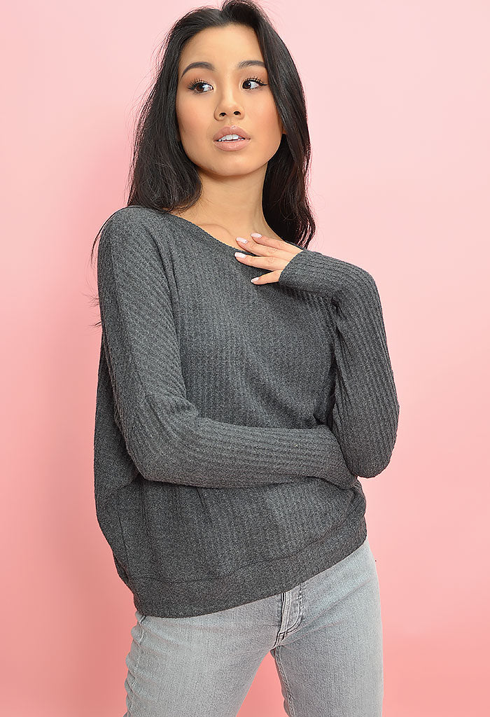 Rock the Boat Sweater-Heather Charcoal