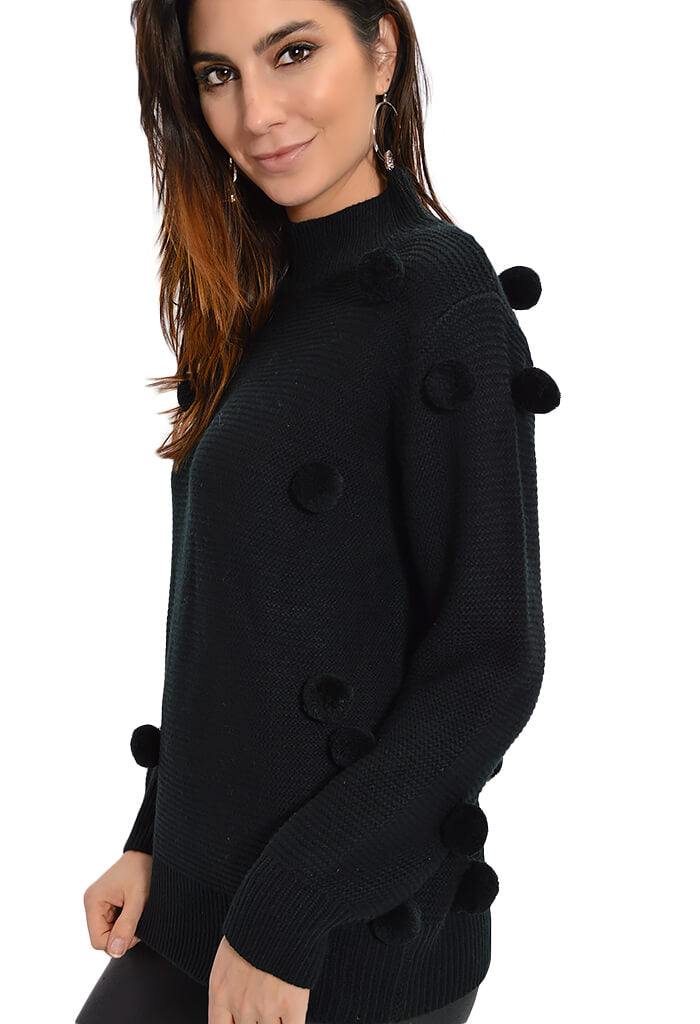 Pom Pom Sweater - Black