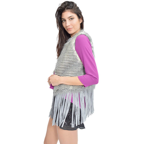 Fluff and Fringe Vest - Grey