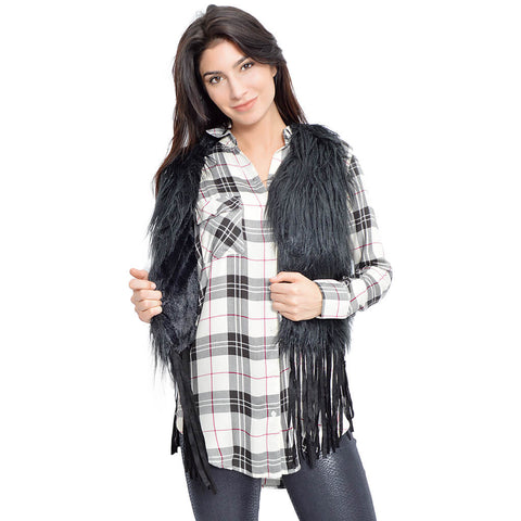 Fluff and Fringe Vest-Black