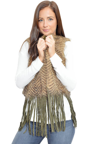 Fluff and Fringe Vest-Brown