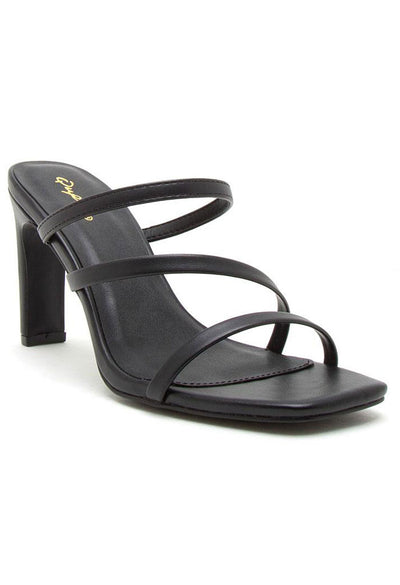 Kaylee Black Strappy Mule Sandals