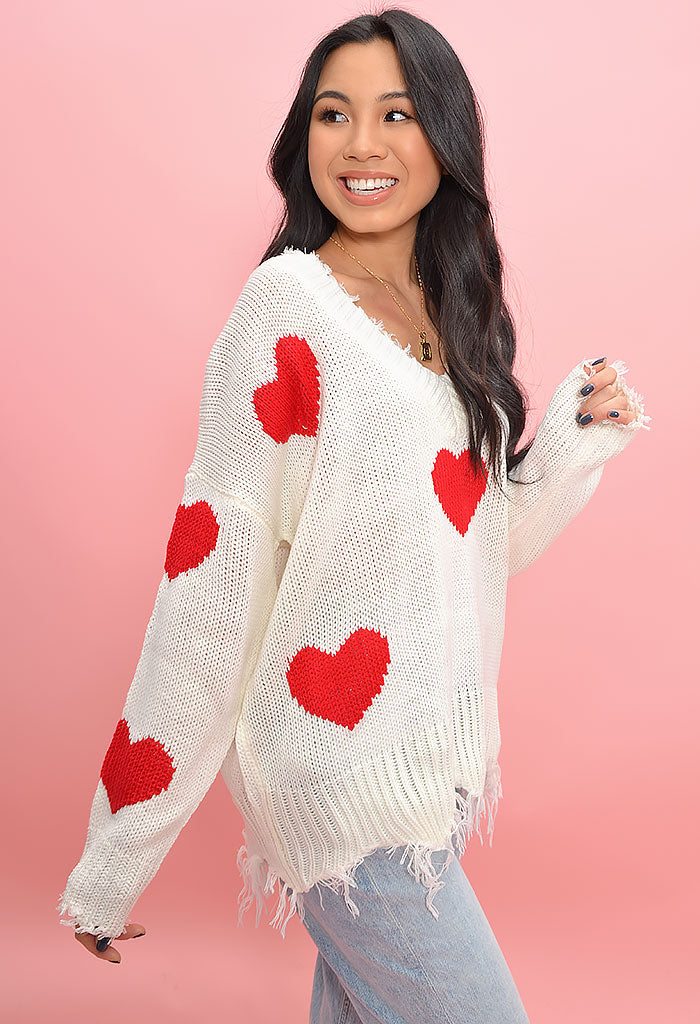 Candy Hearts Sweater-Red