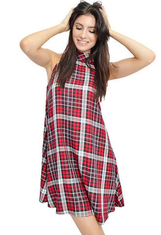 Berry Plaid Dress