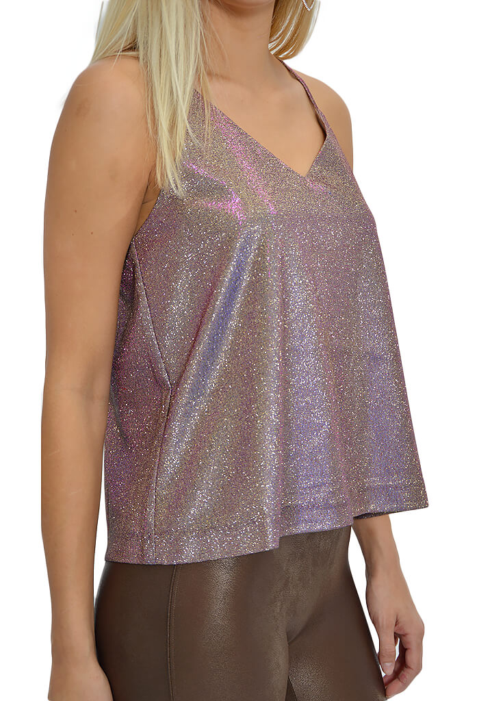 JOA Keyhole Back Metallic Cami-KK Bloom Boutique