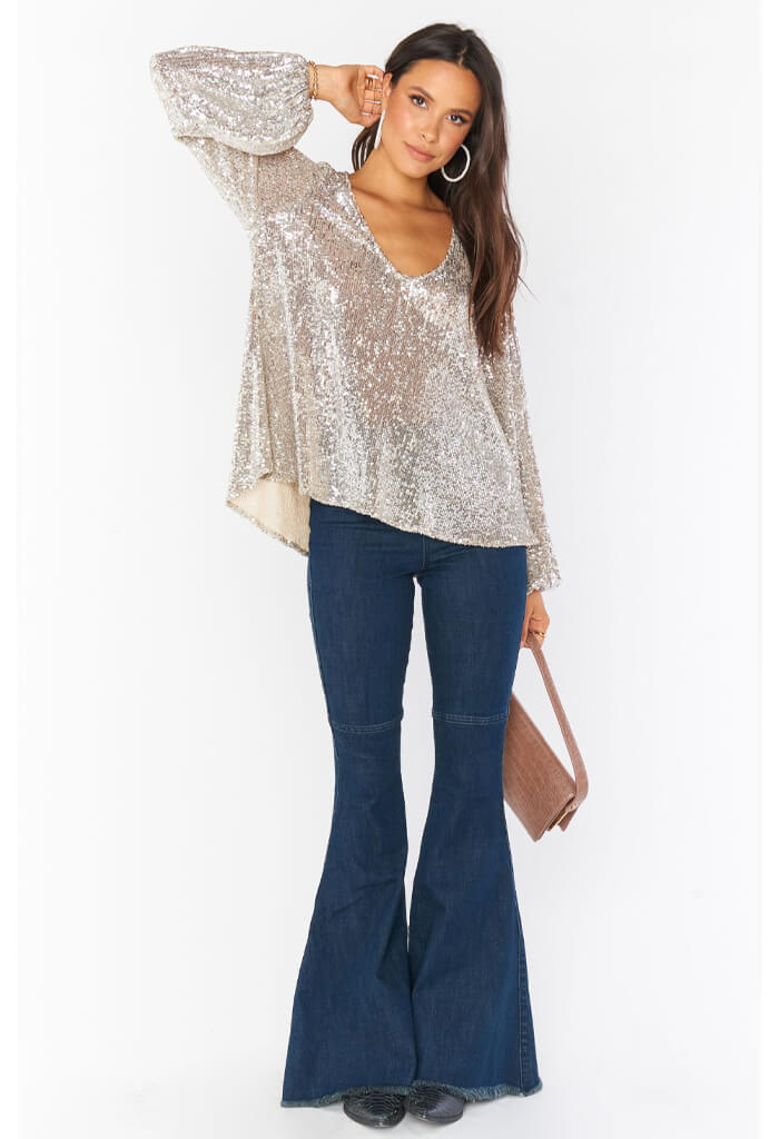 Show Me Your Mumu Chelsea Top-Platinum Sequins