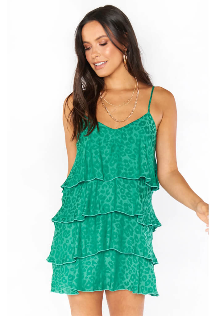 Show Me Your Mumu Becca Ruffle Dress-Green Cheetah Silky