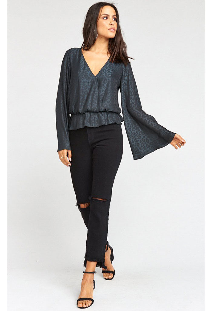 Richie Flare Top-Charcoal Cheetah Silky