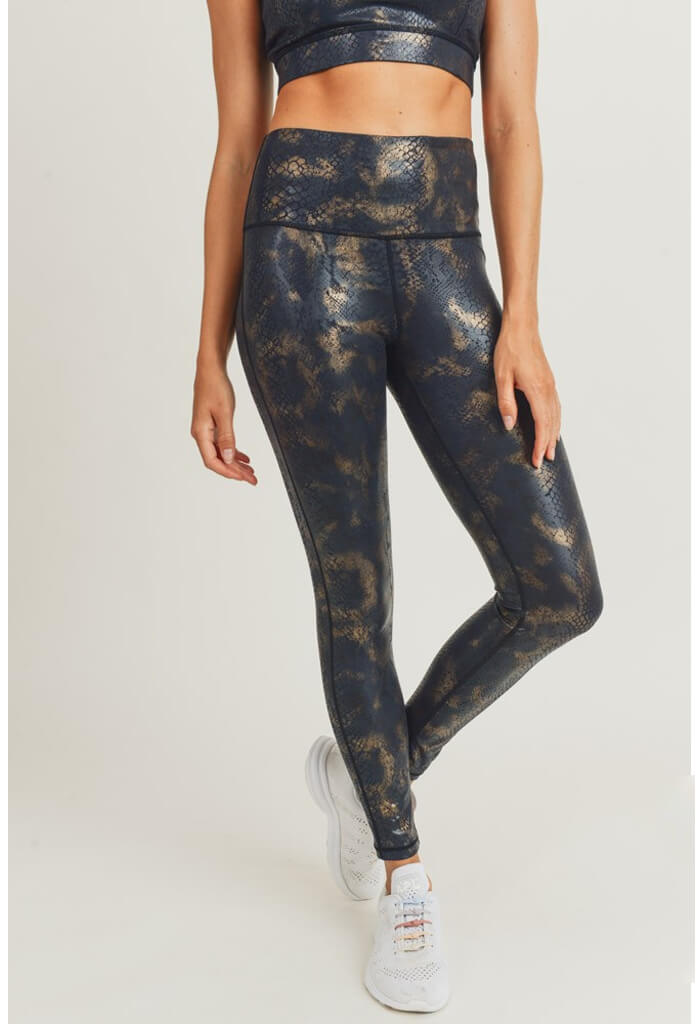 KK Bloom Gold Foil Snake Print Leggings