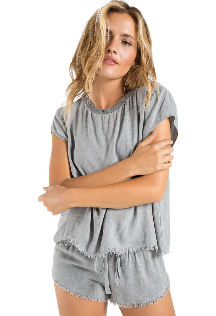 Bella Dahl Fray Hem Tee and Short Box Set in Heather Grey