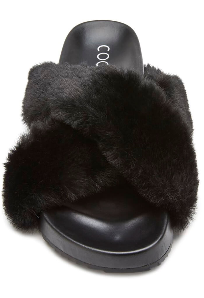Matisse Seasons Faux Fur Slippers-Black