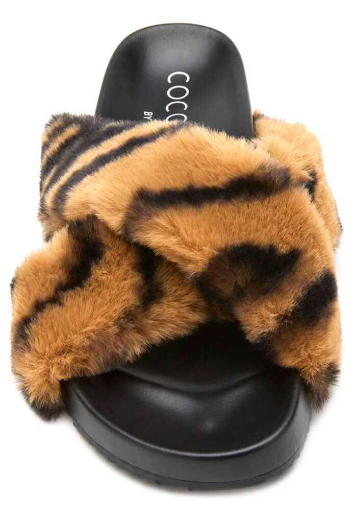 Matisse Seasons Faux Fur Slippers-Tan Zebra
