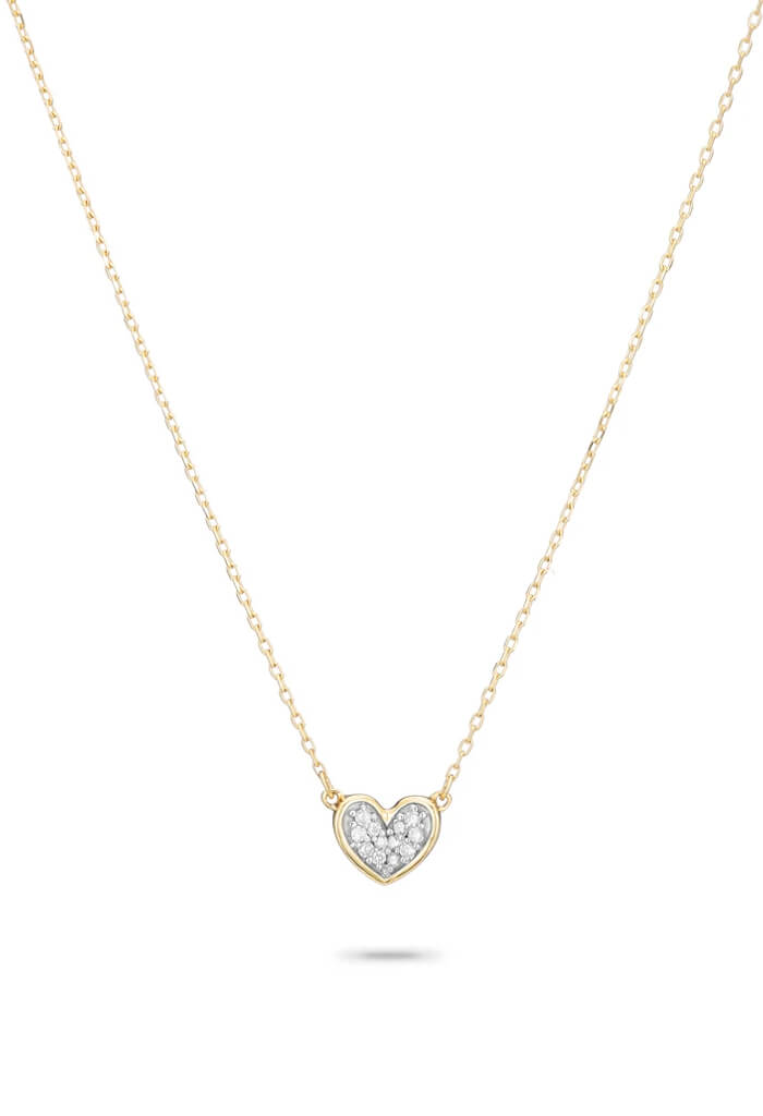 Adina Reyter Super Tiny Pave Folded Heart Necklace-14k Yellow Gold