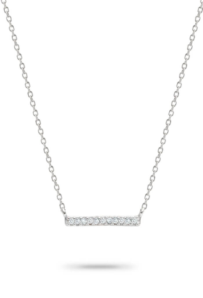 Adina Reyter Pave Bar Necklace-Silver