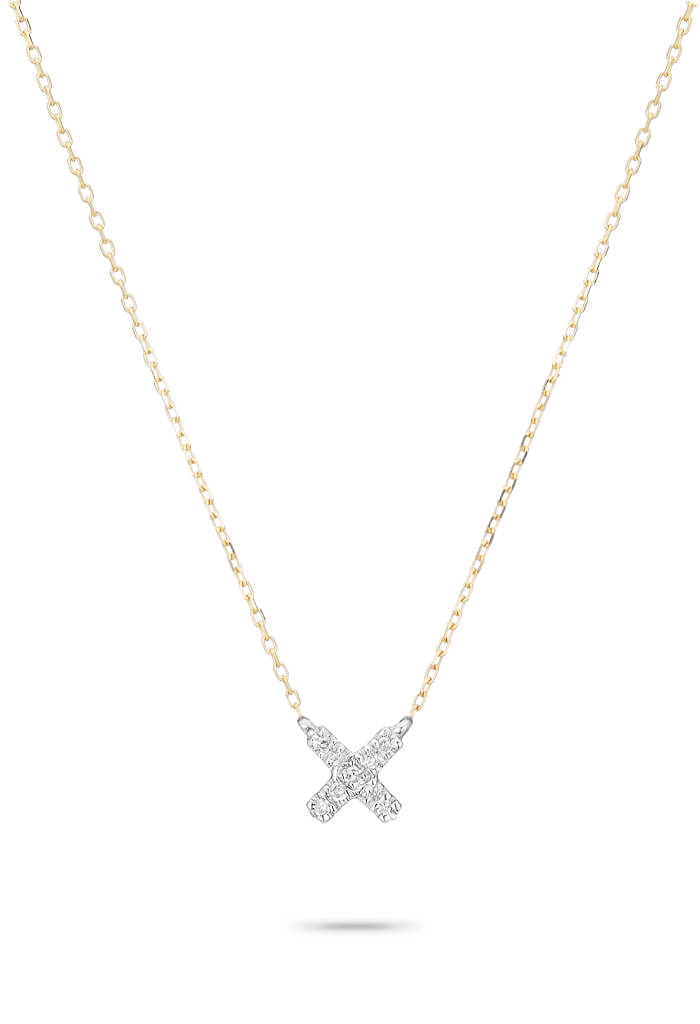 Adina Reyter Super Tiny Solid Pave X Necklace-14k Yellow Gold