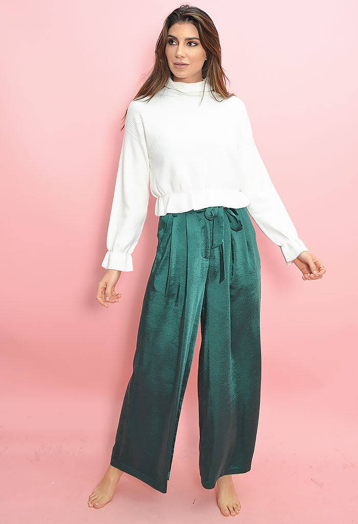 Freedom Lover Satin Pant - Emerald