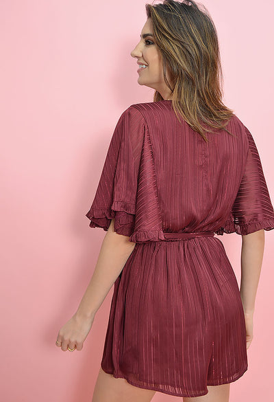 In The Moment Playsuit - Burgundy