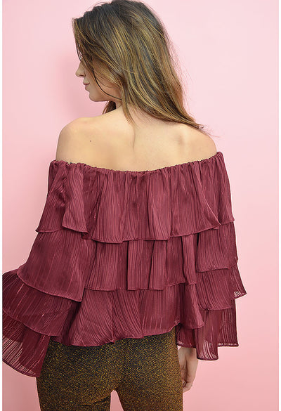 In The Moment Top - Burgundy