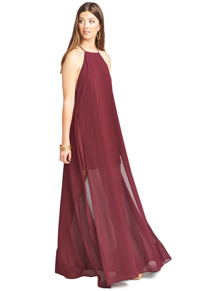Show Me Your Mumu Bronte Maxi Dress ~ Cabernet Chiffon