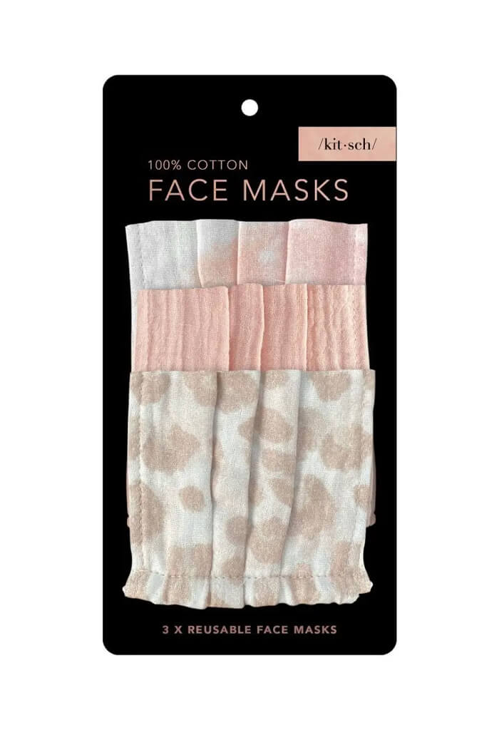 Kitsch Cotton Mask 3 Piece Set-Blush