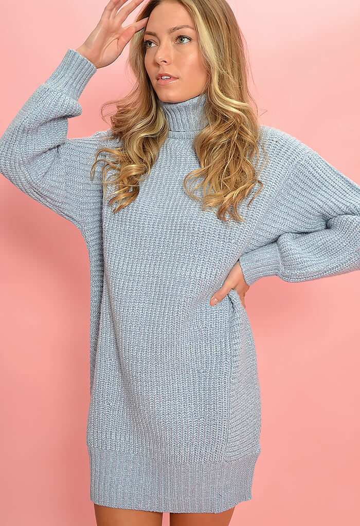 Minkpink Echoes Knit Dress-Blue