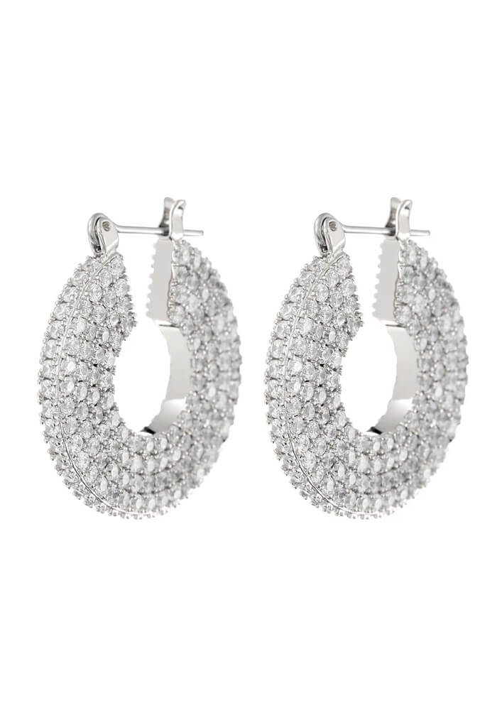 LUV AJ Pave Stefano Hoops-Silver