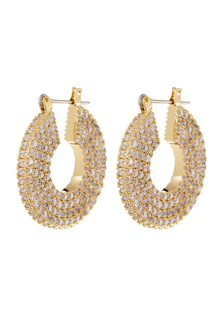 LUV AJ Pave Stefano Hoops-Gold