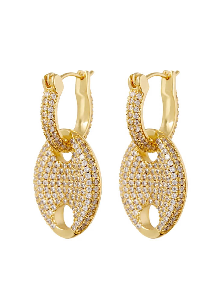 LUV AJ Pave Mariner Link Earrings-Gold