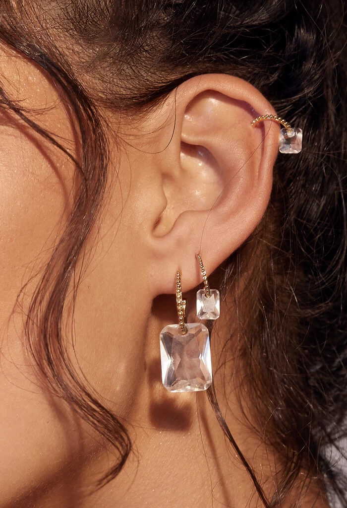 LUV AJ Crystalline Hoops-Gold