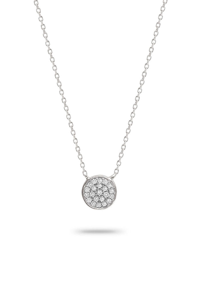 Solid Pavé Disc Necklace-Sterling Silver