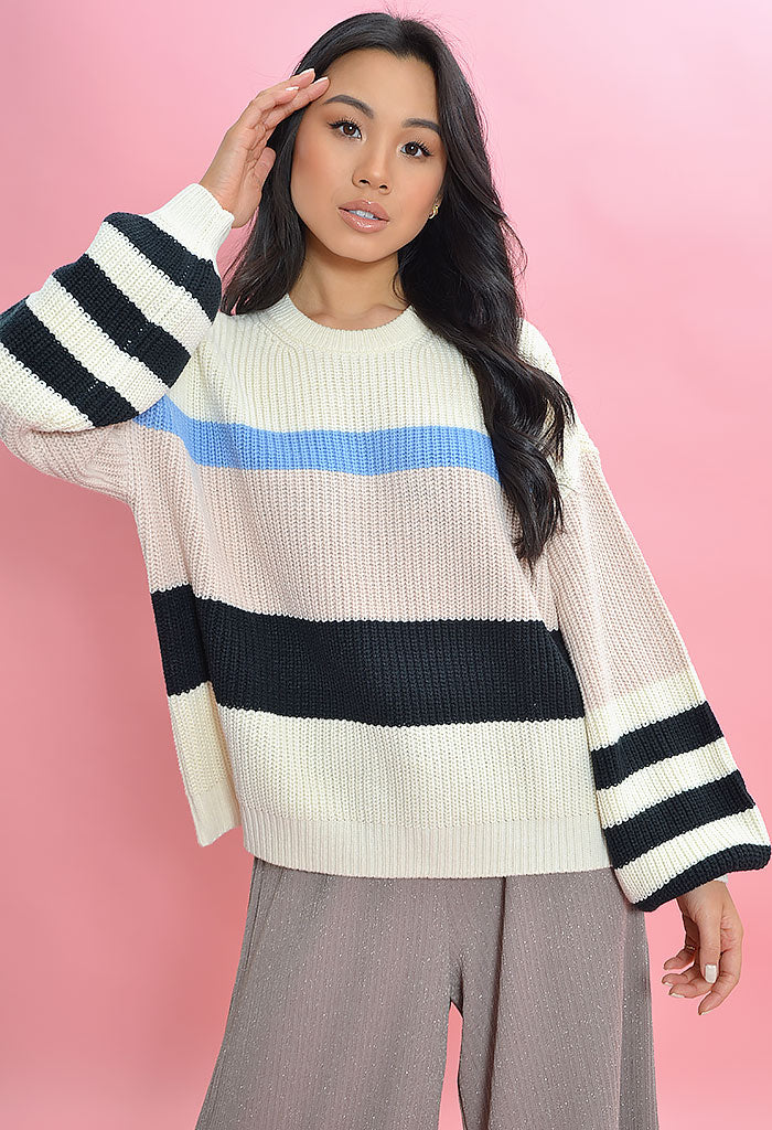 Playful Striped Sweater Moonstone Multi
