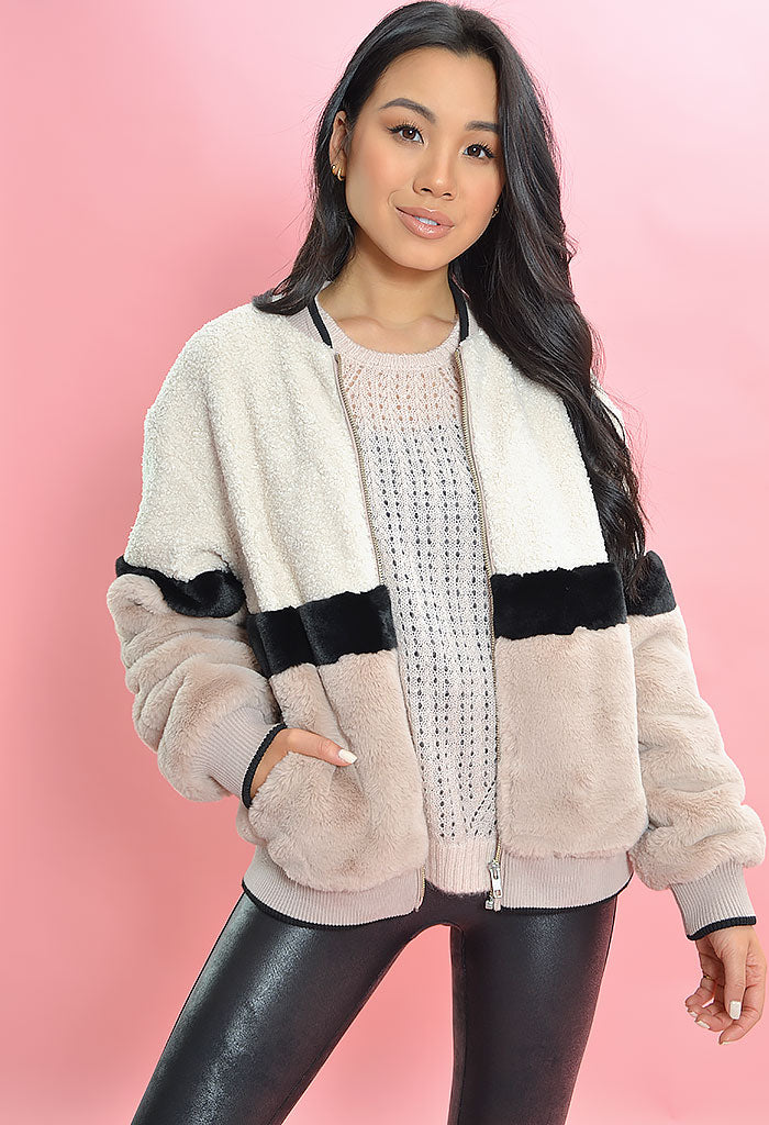 Blockparty Faux Fur Bomber-Blush Moonstone