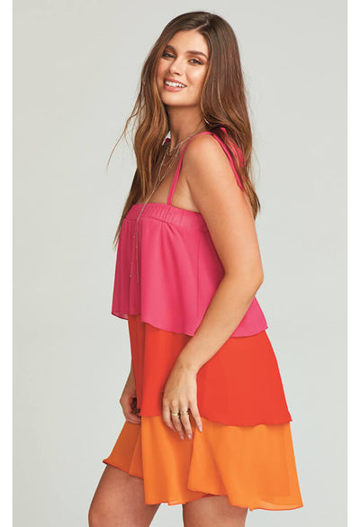 Gabriela Convertible Skirt Dress ~ Sunset Colorblock