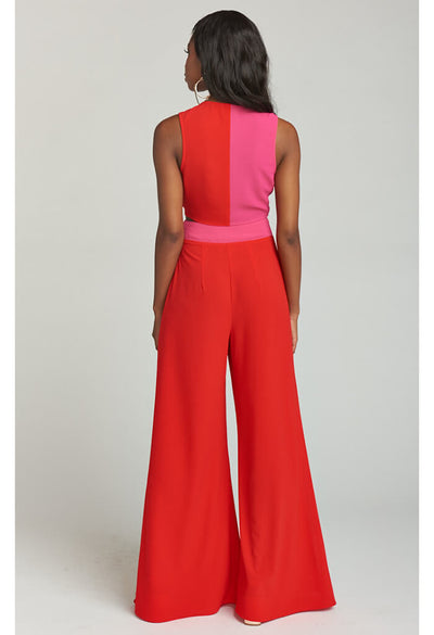 Campbell High Slit Pants ~ Kiss Kiss Colorblock