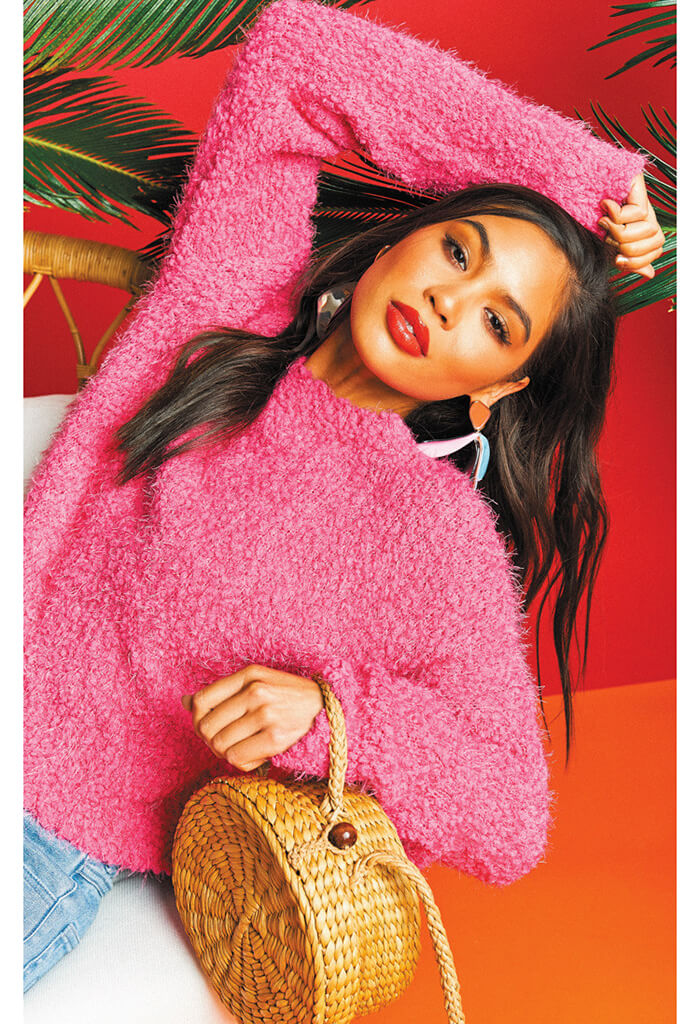 Cropped Varsity Sweater ~ Dazzling Pink Knubby Knit