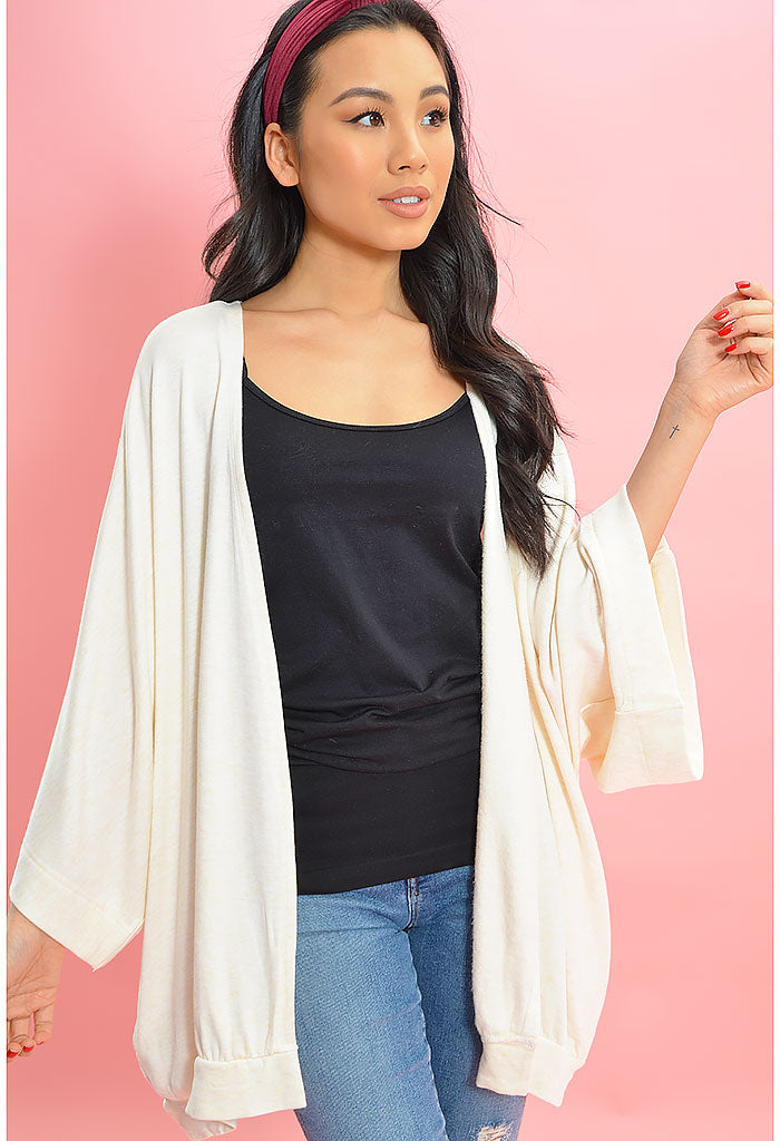 Premium Fleece Cardigan-Oatmeal