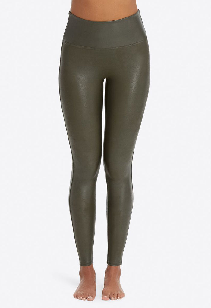 Faux Leather Leggings - Rich Olive
