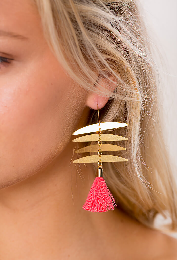 Tiki Bar Earring - Coral