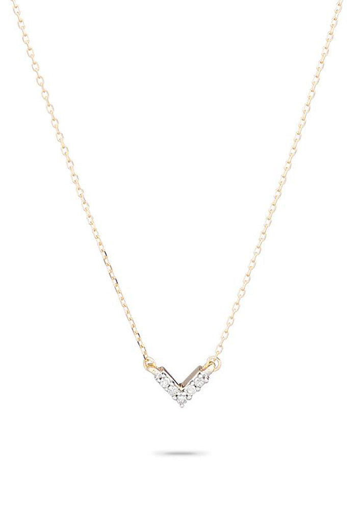 Adina Reyter Super Tiny Pavé V Necklace 14k Gold