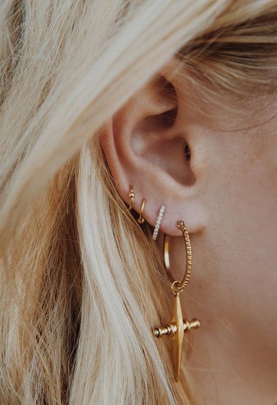 Cross Hoops - Gold