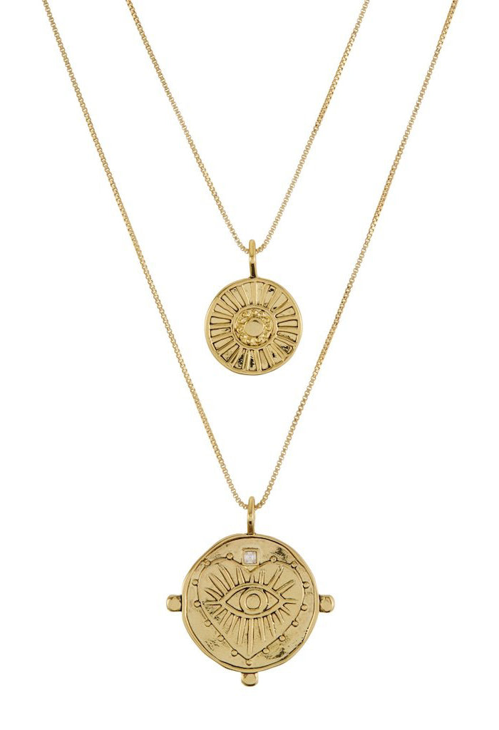 Evil Eye Double Coin Necklace - Gold